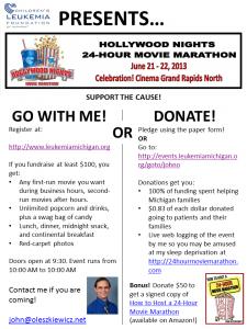 24-Hour Movie Marathon fundraising poster