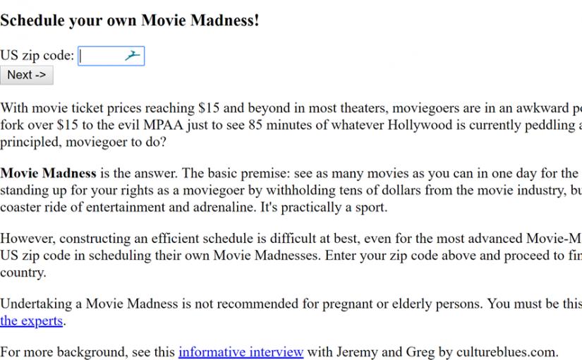 Movie Madness Homepage Screenshot