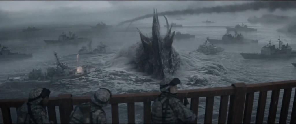 Godzilla swimming with ships