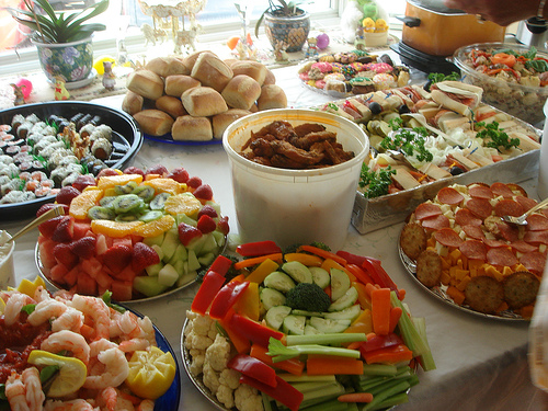 Table of party food