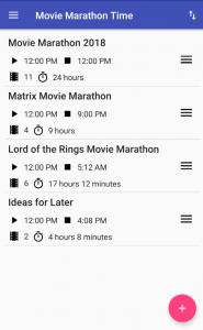 Movie Marathon Time App - List of Marathons - Pixel XL