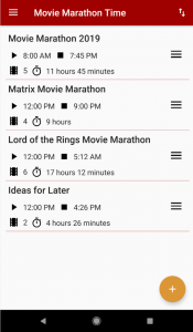 Movie Marathon Time App - Lists