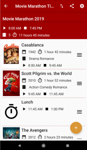 Movie Marathon Time App - Phone