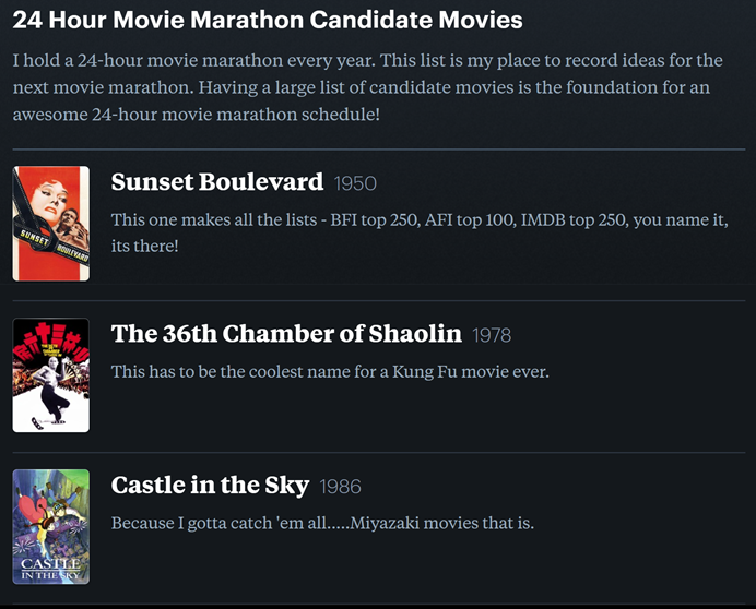 24-hour movie marathon candidate movie list