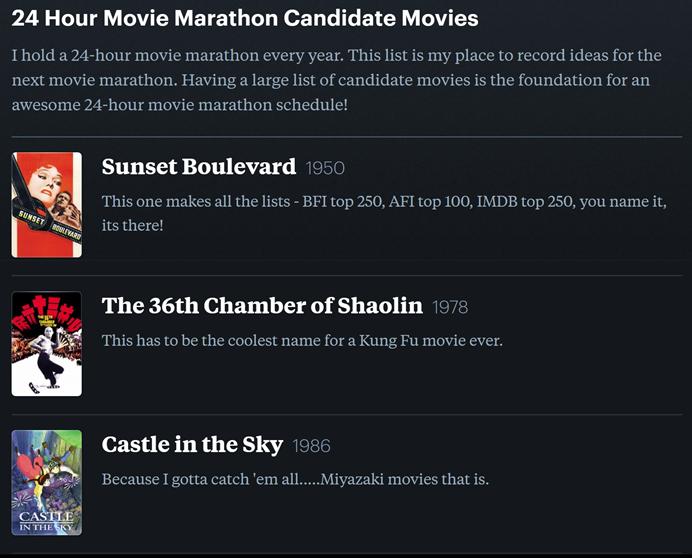 24-hour movie marathon candidate movie list