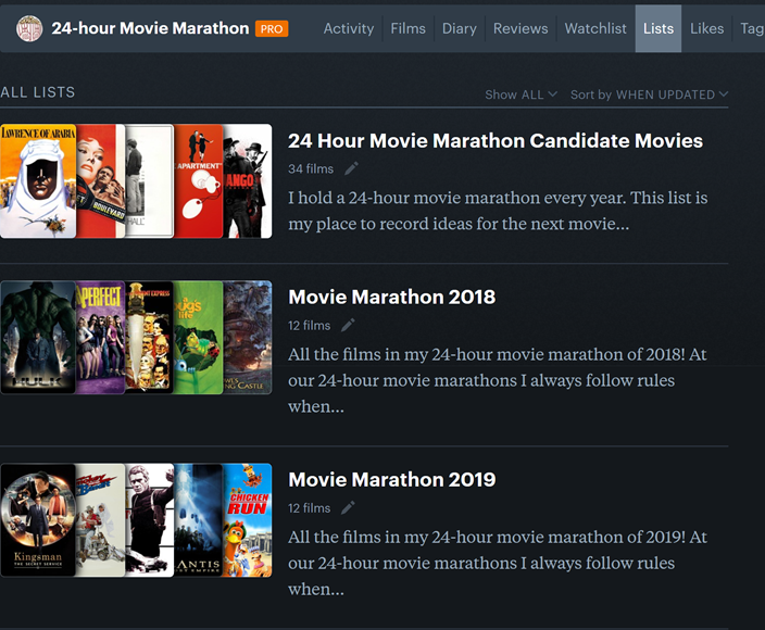 24-hour movie marathon movie lists