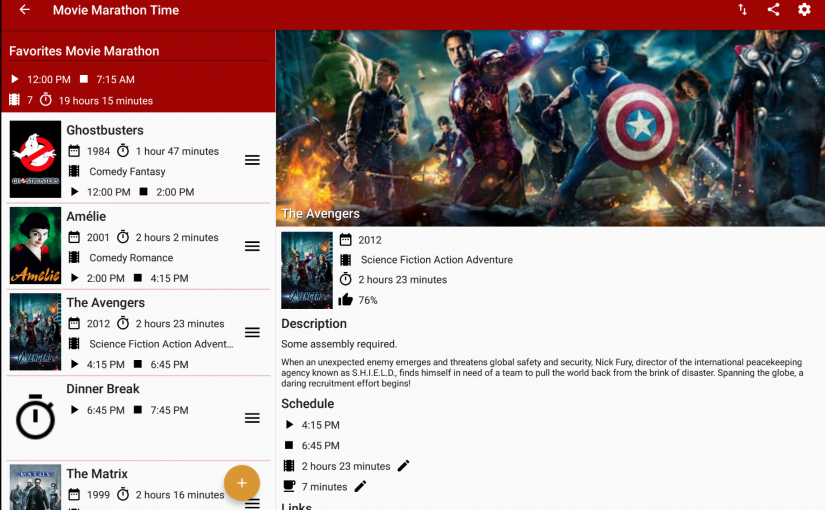 Movie Marathon Time App - Tablet